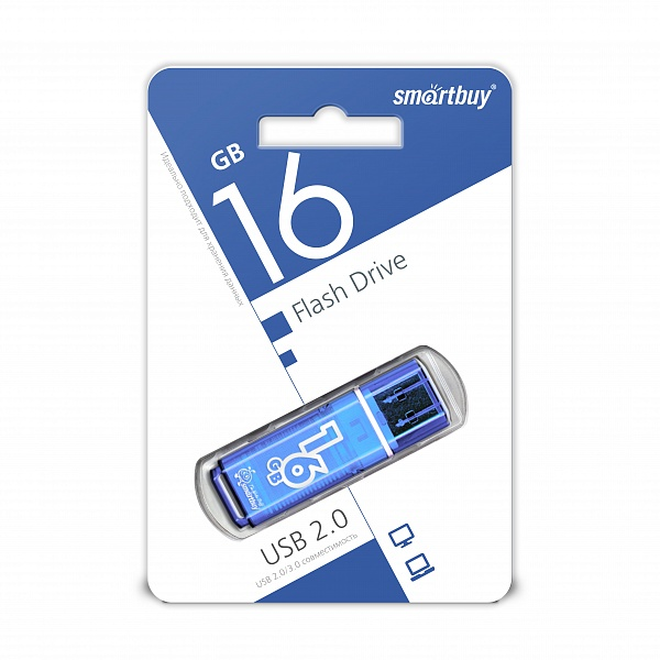 USB 2.0 флэш-диск Smartbuy Glossy series Blue 16GB оптом