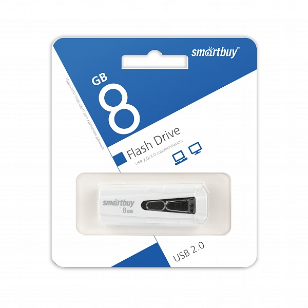 USB 2.0 флэш-диск Smartbuy IRON White/Black 8Gb оптом
