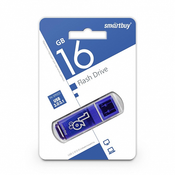 USB 3.0 флэш-диск Smartbuy Glossy series Blue 16GB оптом