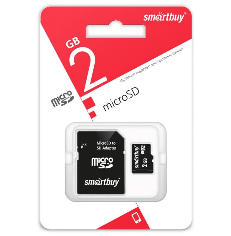 microSD карта памяти Smartbuy 2GB (с адаптером SD) оптом