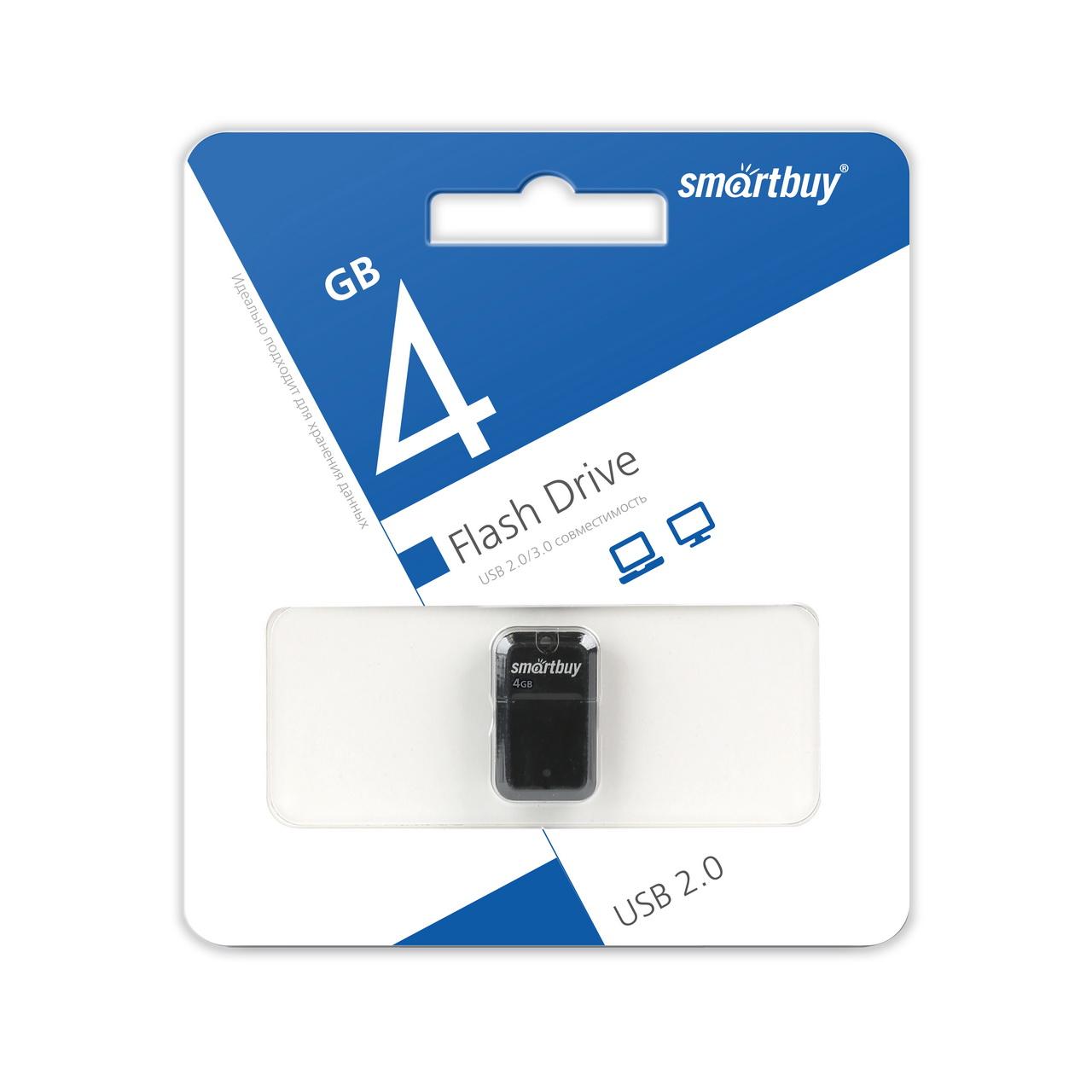 USB 2.0 флэш-диск Smartbuy ART Black 4Gb оптом