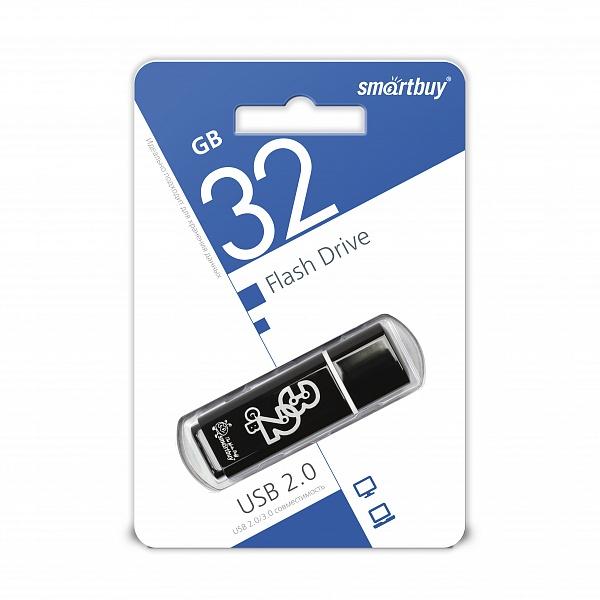 USB 2.0 флэш-диск Smartbuy Glossy series Black 32GB оптом