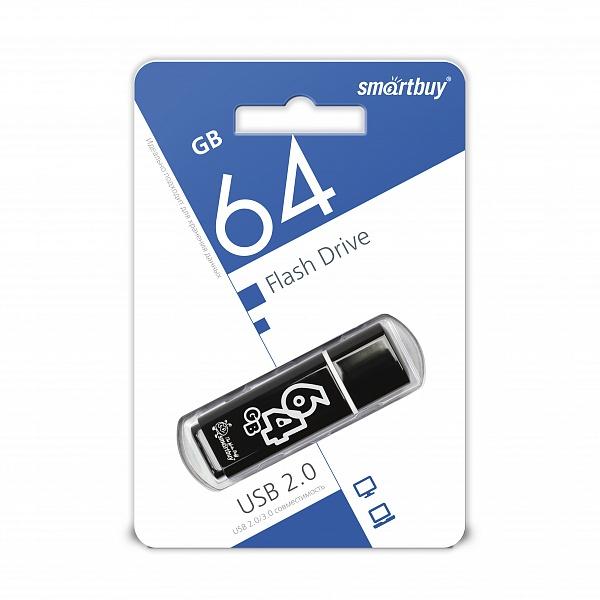 USB 2.0 флэш-диск Smartbuy Glossy series Black 64GB оптом