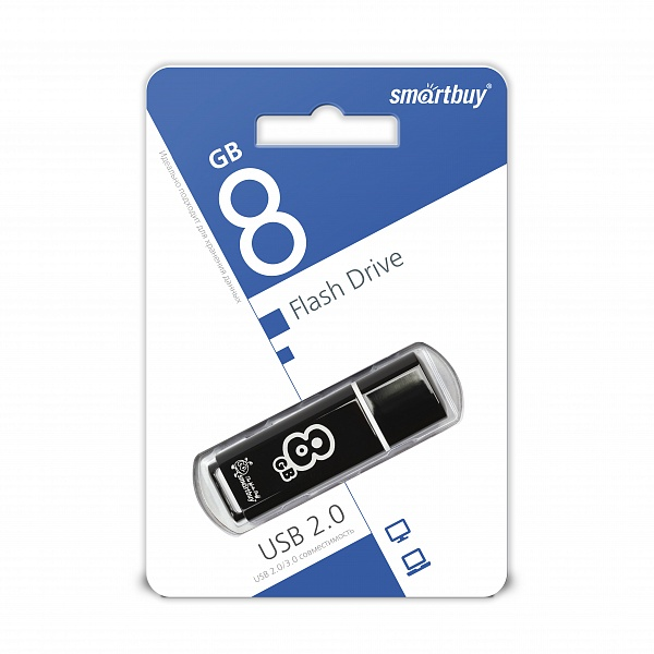 USB 2.0 флэш-диск Smartbuy Glossy Series Black 8GB оптом