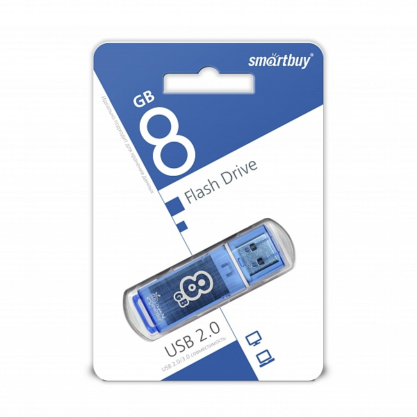 USB 2.0 флэш-диск Smartbuy Glossy series Blue 8GB оптом