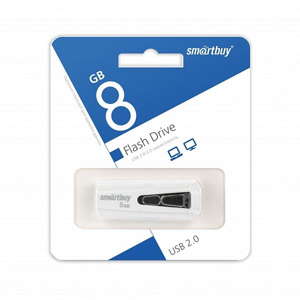 USB 2.0 флэш-диск Smartbuy IRON White/Black 8Gb оптом