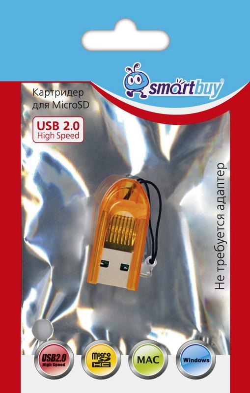 Картридер Smartbuy 710, USB 2.0 - MicroSD, оранжевый