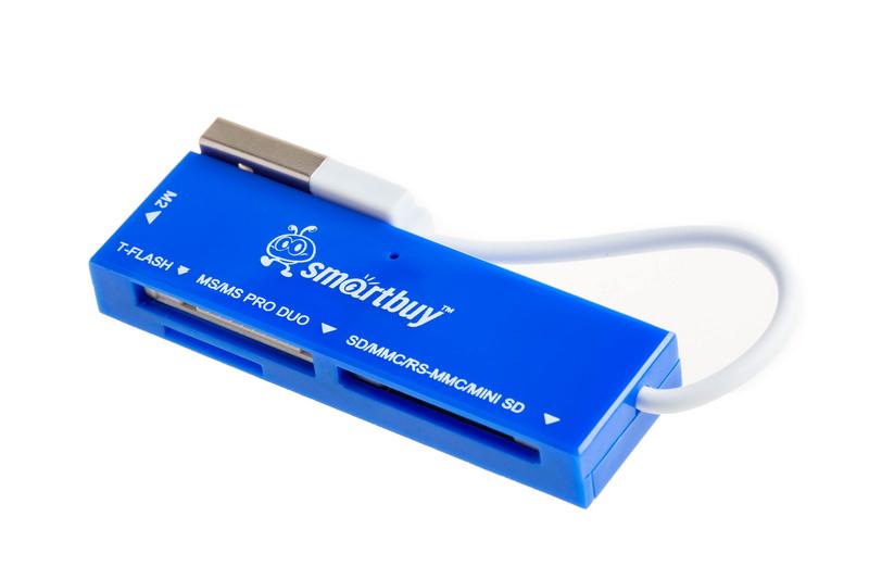 Картридер Smartbuy 717, USB 2.0 - SD/microSD/MS/M2, голубой оптом