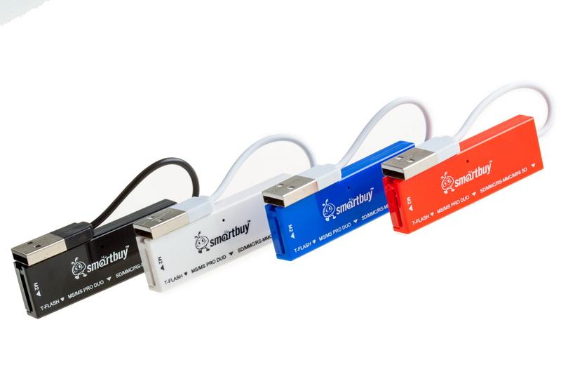 Картридер Smartbuy 717, USB 2.0 - SD/microSD/MS/M2, голубой