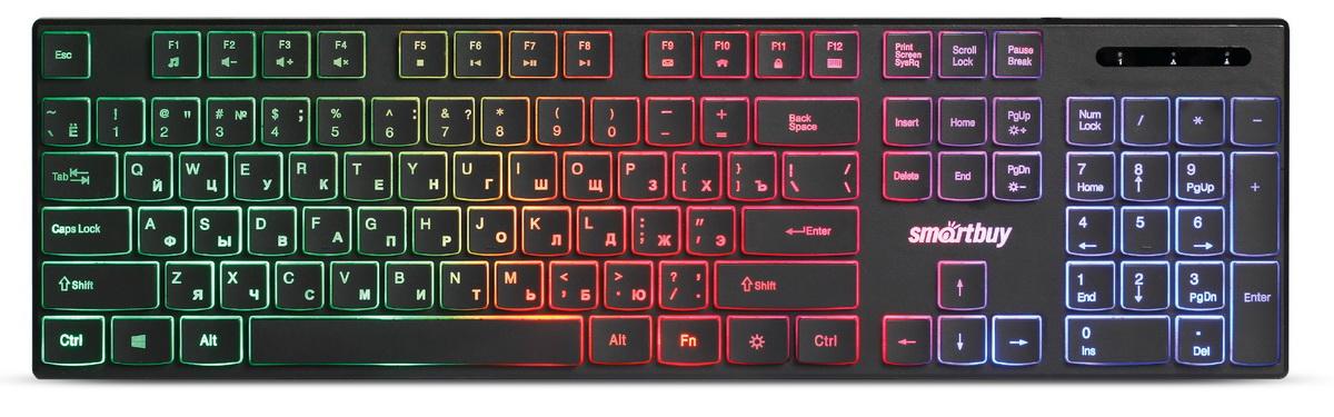 Клавиатура проводная мультимедийная с подсветкой Smartbuy ONE 240 USB черная