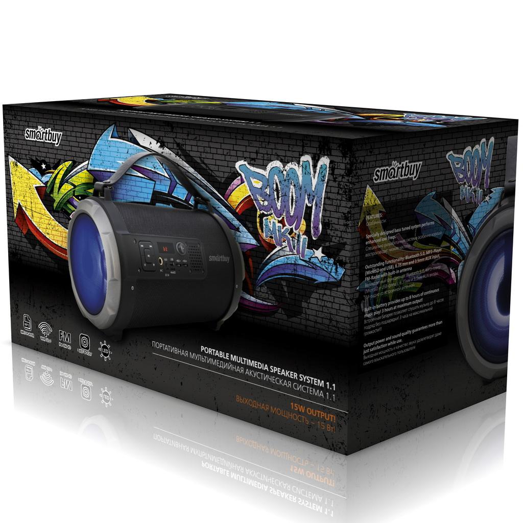 Портативная акустическая система Smartbuy BOOM MKII черная